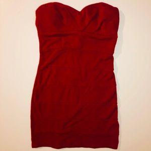 F21 Strapless mini dress sweetheart red  dress